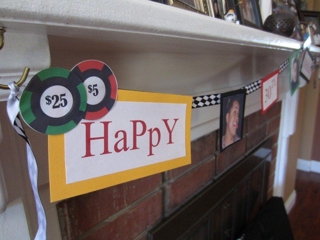 Poker Happy Birthday Banner