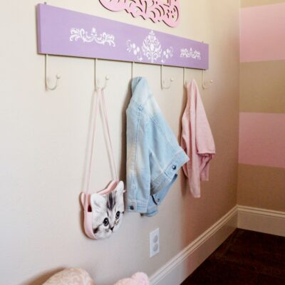 Stenciled Coat Rack for a Kid's Room