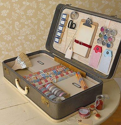 Craft Ideas Vintage on Vintage Suitcase Craft Storage Jpg
