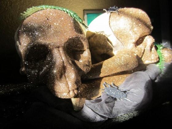 Halloween Glittered Skulls