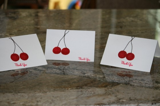 Embossed Cherry Thank You Cards