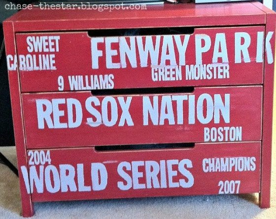 Upcycled Baseball Themed Dresser