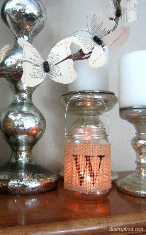 Stenciled Burlap and DIY Recycled Jar Tea Light Lantern - DIY Inspired