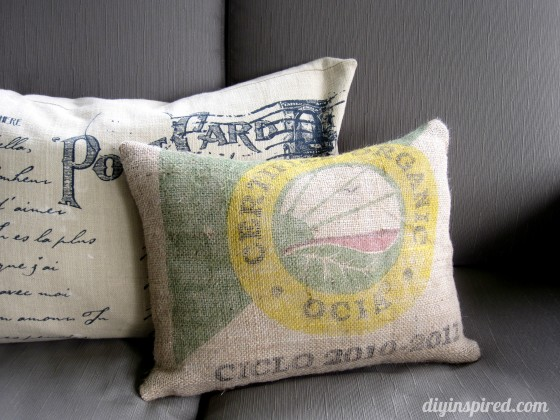 Recycled Coffee Bean Sack Pillow Diy Inspired