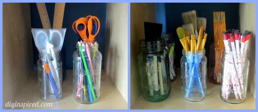 Craft Room Organization Recycled Jars