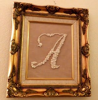 DIY Monogram Swarovski Pearls in a Frame