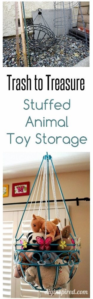 Trash to Treasure Stuffed Animal Toy Storage from Old Hanging Planter