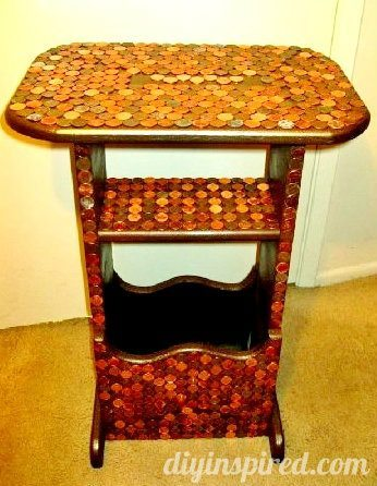 Upcycled Thrift Store Penny Table (5)