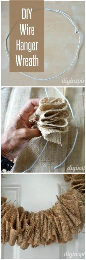 DIY Wire Hanger Wreath - DIY Inspired