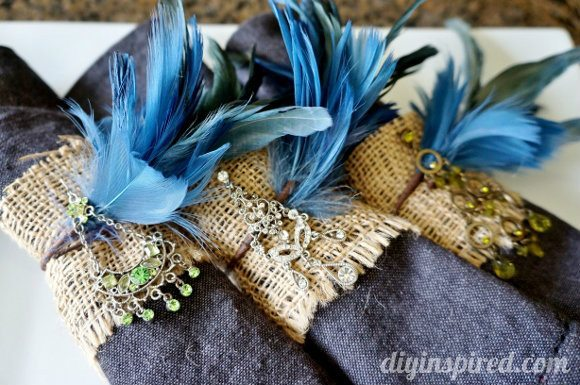 Repurposed Earring Burlap and Feather Napkin Rings