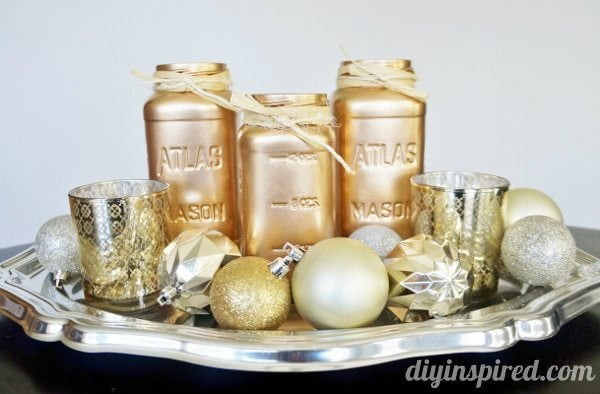 Metallic Mason Jar Centerpiece