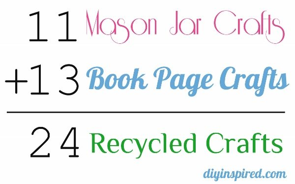 24 Mason Jar and Book Page Recycled Crafts