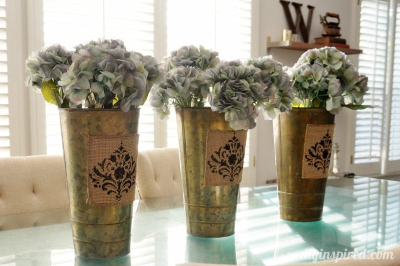 Spring Centerpiece with Stenciled Burlap