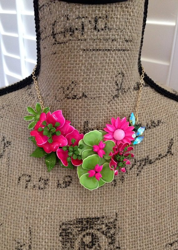 Hot Pink and Green Rhinestone Flower Necklace