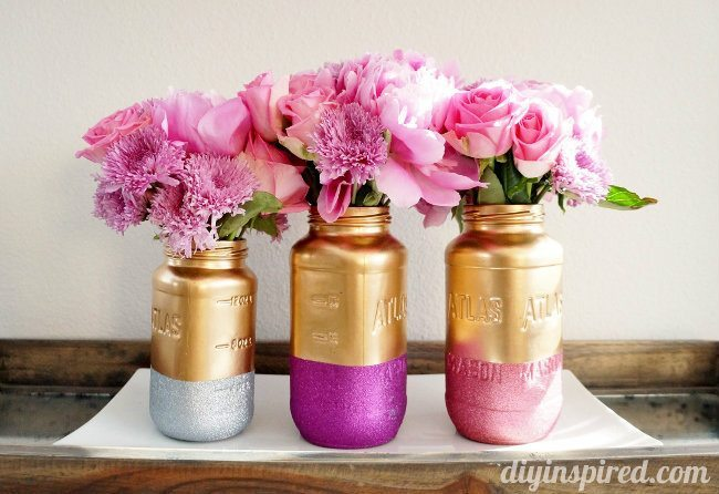 Gold and Glittered Mason Jar Centerpiece