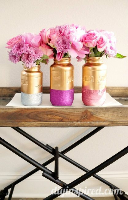 gold and glitter mason jars (2)