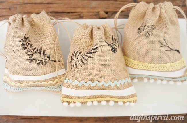 Stenciled Burlap Gift Sacks