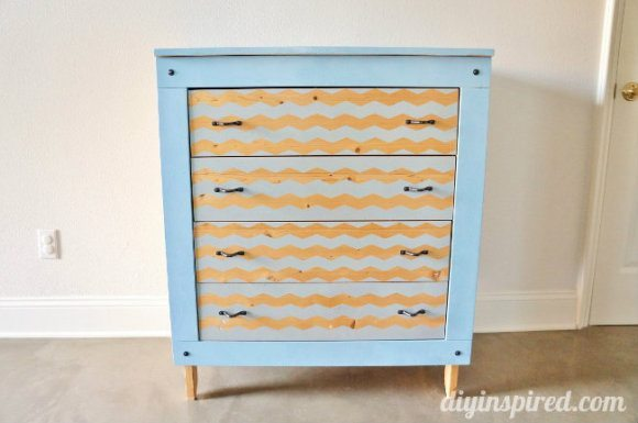 Spray Painted Chevron Dresser DIY