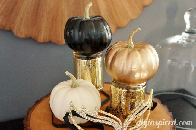 Easy Spray Painted Pumpkins Gold and Black Halloween