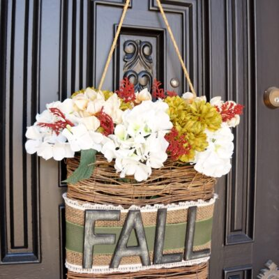 Fall Wreath in a Basket