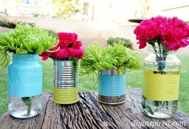 Recycled Can and Mason Jar Vases