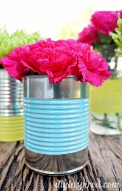 Recycled Can and Mason Jar Centerpiece