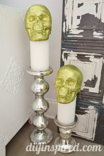 Glittered Halloween Skull Decoration