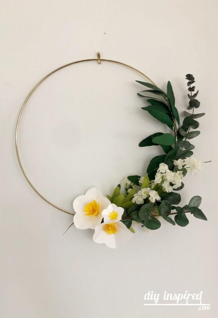 Gold Hoop Paper Flower Wreath