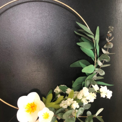 Paper Flower Gold Hoop Wreath