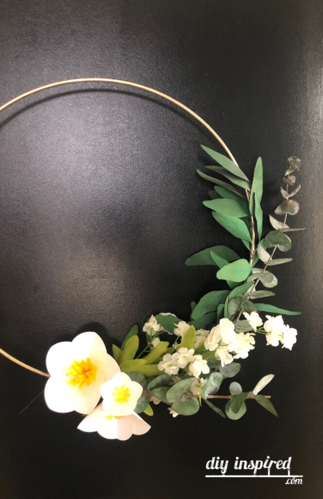 Paper Flower Gold Hoop Wreath