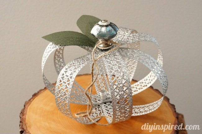 Repurposed Metal Ribbon Pumpkin