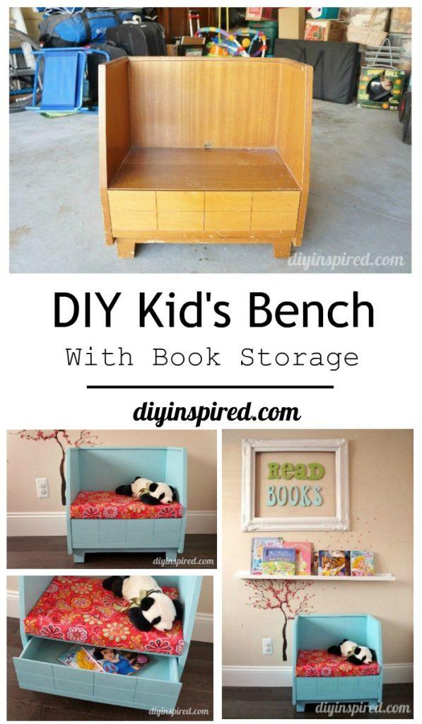 DIY Kids Bench with Book Storage DIY Inspired