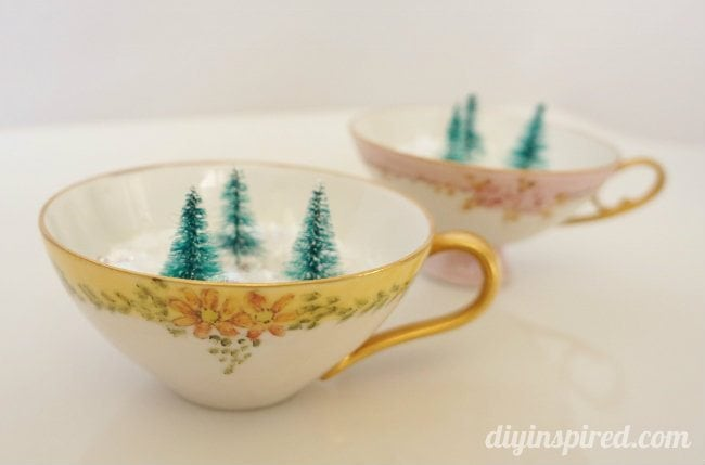 Winter Forest in Hand Painted Tea Cups