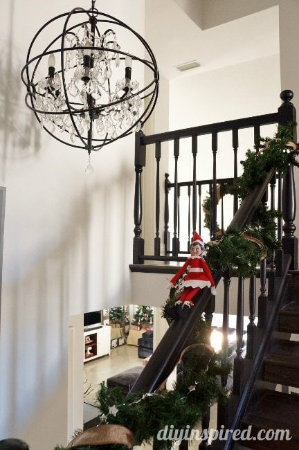 Last Minute Elf on the Shelf Ideas Day 17 Banister Elf (1)