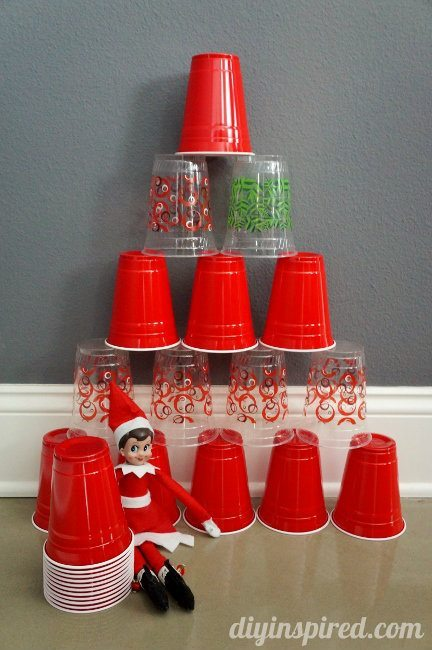 Last Minute Elf on the Shelf Ideas Day 18 Cup Stacking Elf