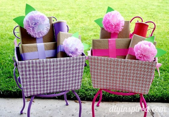 Recycled gift wrap with food boxes and coffee filters