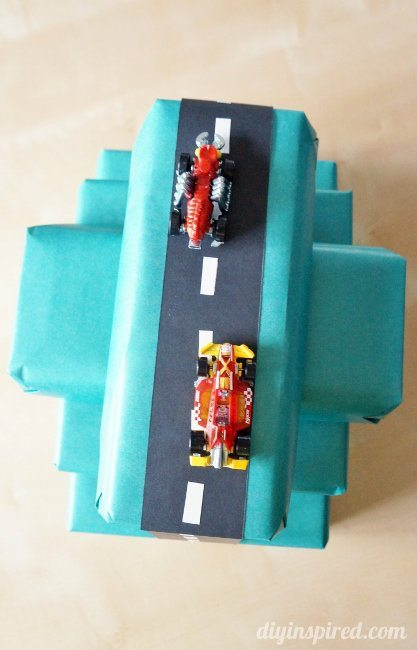 Race Car Gift Wrapping Idea