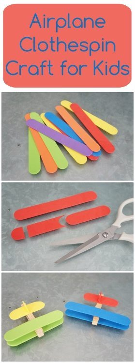 Clothespin Airplane Craft for Kids