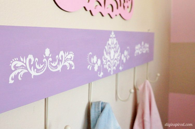 Stenciled DIY Coat Hanger for Kids