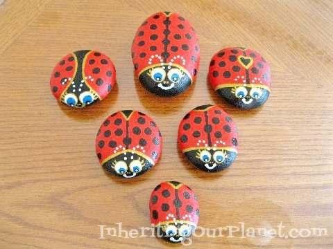 Painted Stone Lady Bugs Craft for Kids