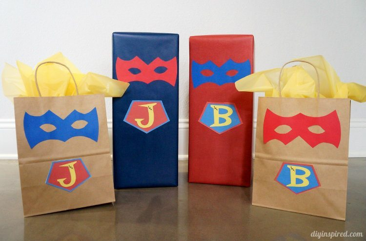 Superhero Invitations and Gift Wrapping DIY