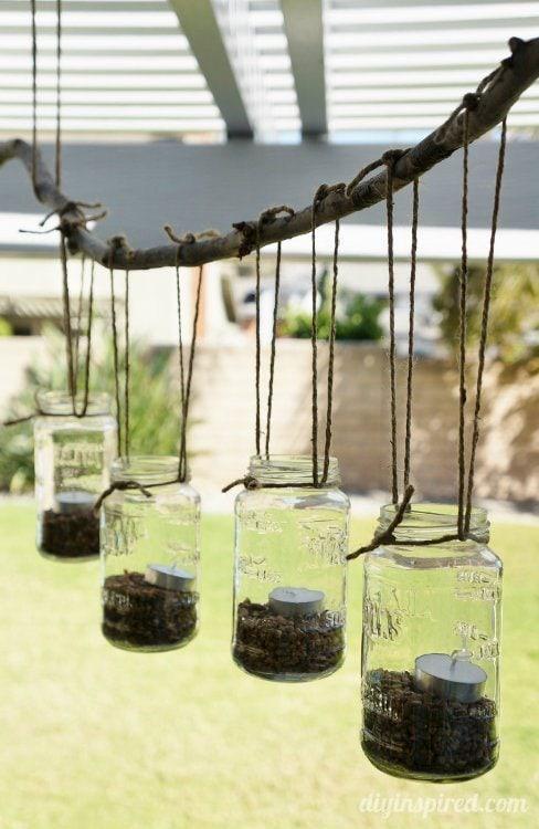 DIY Mason Jar Tea Light Chandelier