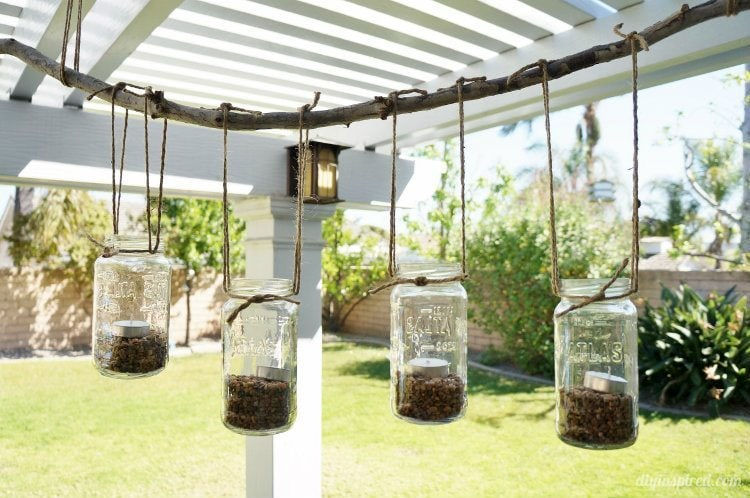 DIY Outdoor Mason Jar Chandelier