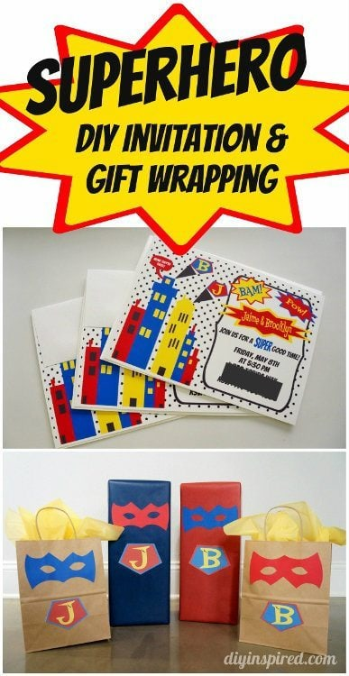 Superhero Invitations and Gift Wrapping