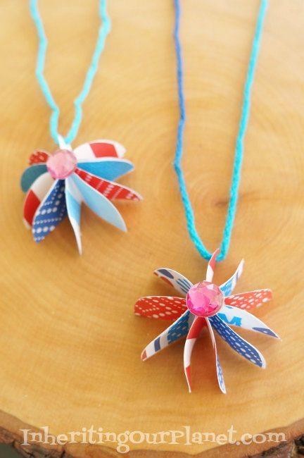 Fire-Cracker-Patriotic-Necklace-Craft
