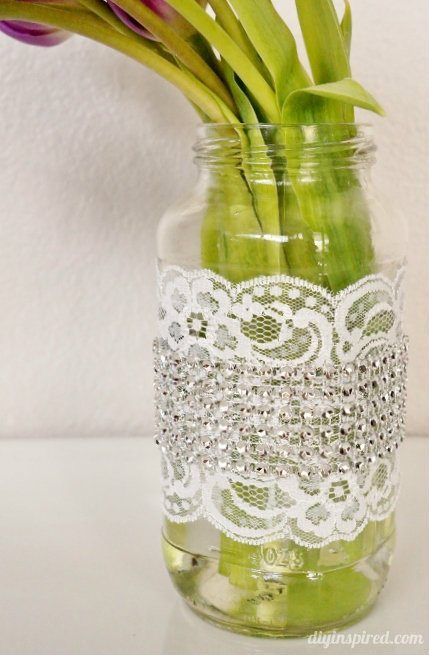 Mason Jar with Rhinestones and Lace