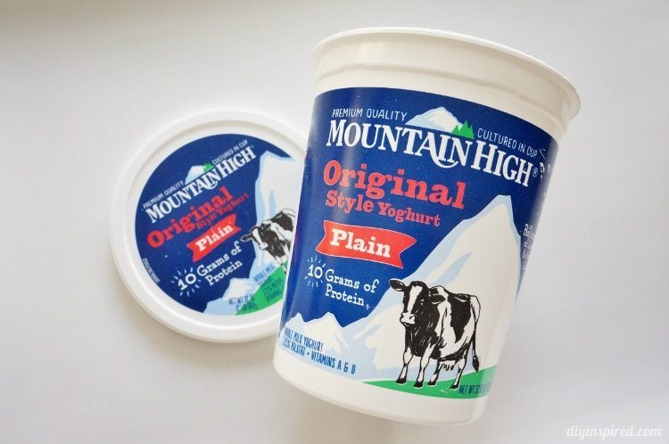 Repurposed Mountain High Yoghurt Container