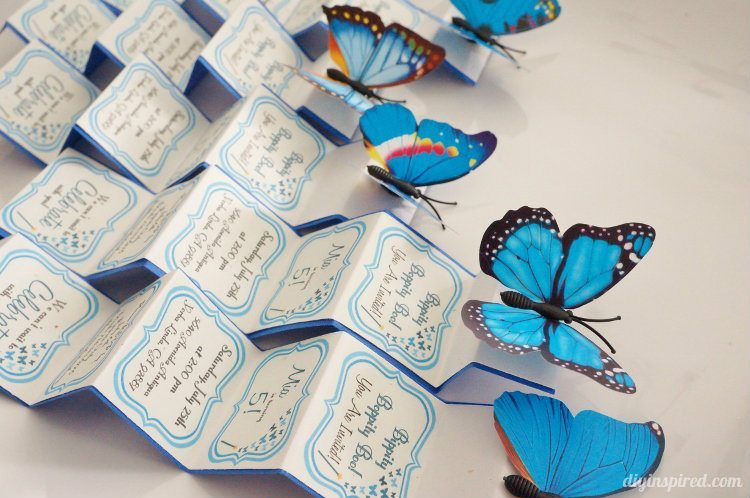 Butterfly Birthday Party Accordion Invitiation