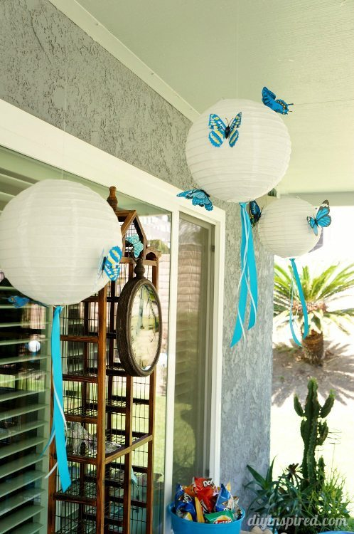 Blue Butterfly Party Lanterns with Ribbon