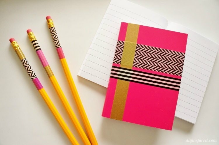 Washi Tape Crafts Pencils and Notebooks
